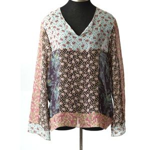Johnny Was Top Silk Patchwork Blouse Size Large